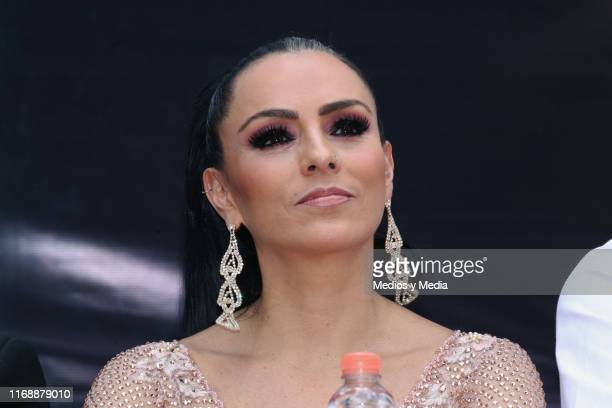 Ivonne Montero attends a press conference for the play La Reina del Sur at Concepcion Jalolpan on August 18 2019 in Mexico City Mexico