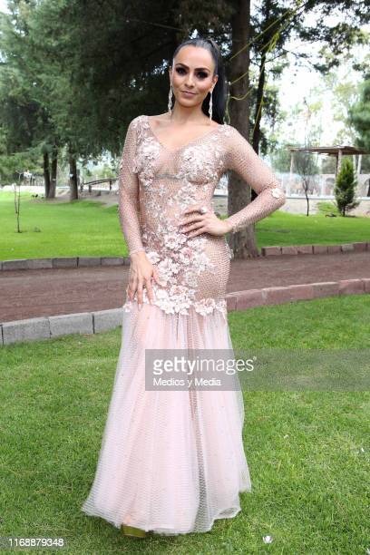 Ivonne Montero poses for photos after the press conference for the play La Reina del Sur at Concepcion Jalolpan on August 18 2019 in Mexico City...