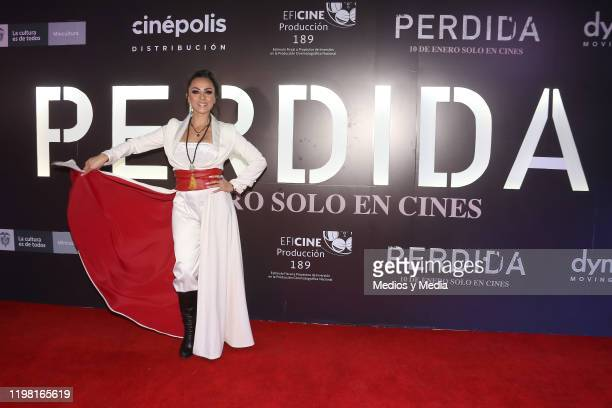 Ivonne Montero poses for photos during the 'Perdida' red carpet at Plaza Carso on January 7 2020 in Mexico City Mexico