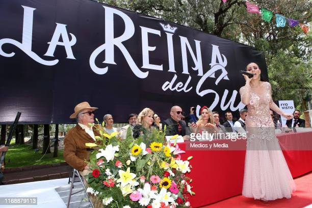Ivonne Montero sings during a press conference for the play La Reina del Sur at Concepcion Jalolpan on August 18 2019 in Mexico City Mexico