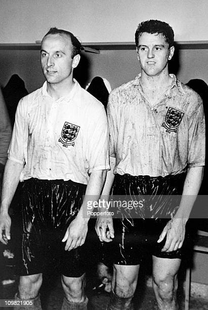 Ivor Broadis and Tommy Taylor in the England dressing-room after the International match between England and Argentina at the River Plate Stadium in...