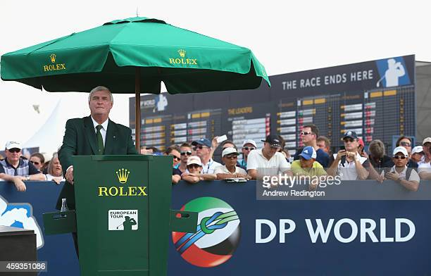 Ivor Robson the official tournament starter is pictured on the first tee during the second round of the DP World Tour Championship at Jumeirah Golf...