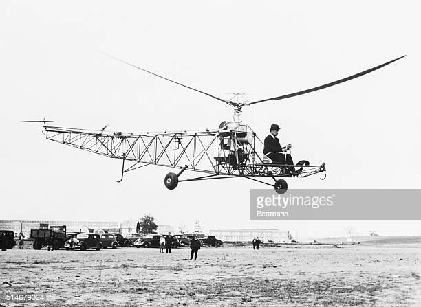 Ivor Sikorsky flies his helicopter the first to make a successful vertical flight over Bridgeport Connecticut