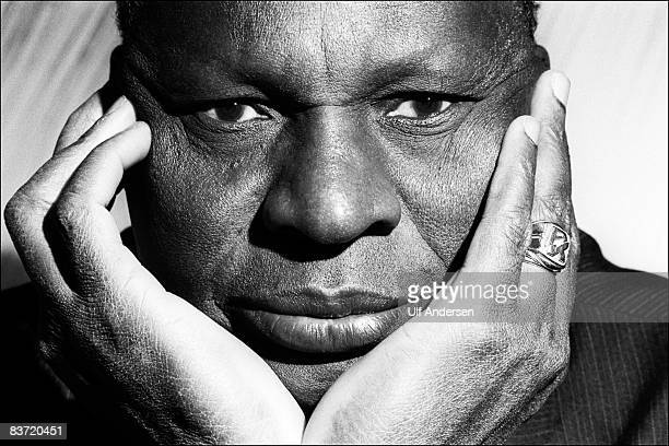 Ivorian Coast author Ahmadou Kourouma poses while in a studio in ParisFrance on the 13th of December 1989