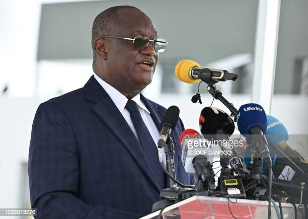 Ivorian defense Minister Tene Birahima Ouattara delivers a speech during inauguration of the International Academy for Combating Terrorism in...