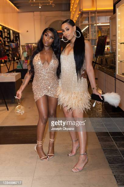 Ivorian Doll and Snoochie Shy attend the GRM Gala at The V&A on August 9, 2021 in London, England.