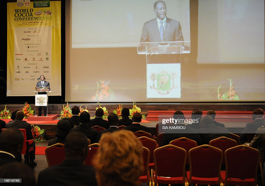 Ivorian president Alassane Ouattara gives a speech during the opening the 2012 World Cocoa conference in Abidjan. Ivory Coast on Tuesday hosts world players in the cocoa business for a conference on how to face up to the challenges posed by soaring demand.