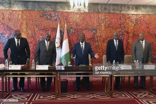 Ivorian President Alassane Ouattara , Vice-President Daniel Kablan Duncan , Prime Minister Amadou Gon Coulibaly , Defence minister Hamed Bakayoko and...