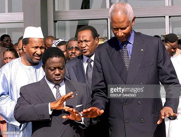 Ivorian President Henri Konan Bedie and his Senegalese counterpart Abdou Diouf followed by Malian president Alpha Oumar Konare and his Burkina Faso...
