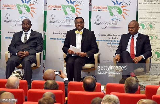 Ivorian Prime Minister Daniel Kablan Duncan Akinwumi Adesina president of the African Development Bank and Tony Elumelu founder of African Energy...