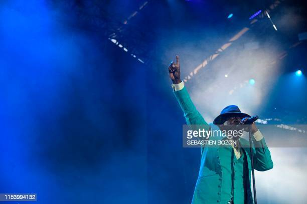 Ivorian singer Alpha Blondy performs on stage during the 31st Eurockeennes rock music festival in Belfort, eastern France, on July 5, 2019.