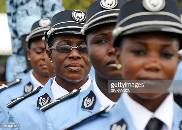 Ivorian women police officers march during the graduation ceremony of more than 1500 police students on September 28 2012 at the police school in...