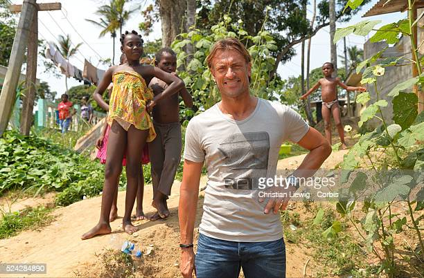 Ivory Coast coach Herve Renard spends a good times as part the Orange Africa Cup Of Nations 2015 in Bata Equatorial Guinea on February 6 2015 Photo...