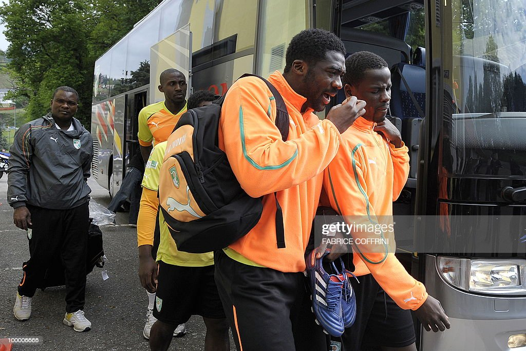 Ivory Coast football player Kolo Toure (C) arrives with teammates to a practice session on May 20, 2010 in Montreux ahead of the FIFA World Cup 2010 finals in South Africa. A high-profile casualty is inevitable in Group G at the World Cup with Brazil, Portugal and Ivory Coast fighting for two places while North Korea concentrate on damage limitation.