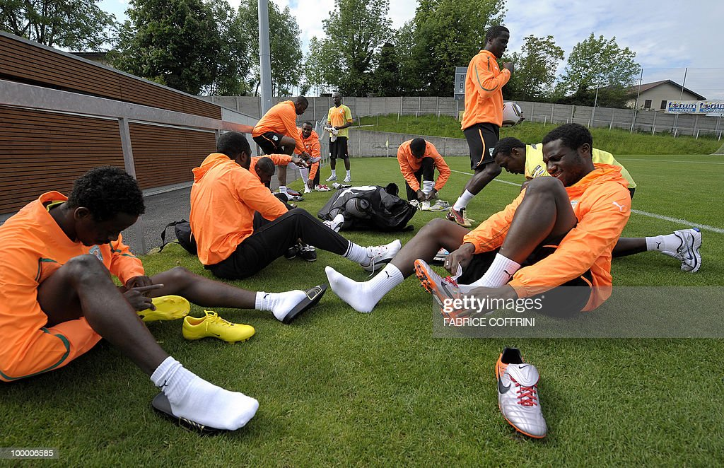 Ivory Coast football players prepare for a practice session with on May 20, 2010 in Montreux ahead of the FIFA World Cup 2010 finals in South Africa. A high-profile casualty is inevitable in Group G at the World Cup with Brazil, Portugal and Ivory Coast fighting for two places while North Korea concentrate on damage limitation.