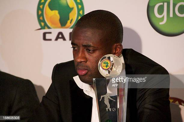 Ivory Coast midfielder Yaya Toure speaks at a press conferece after winning the African Football Player of the Year award at the GLOCAF African...