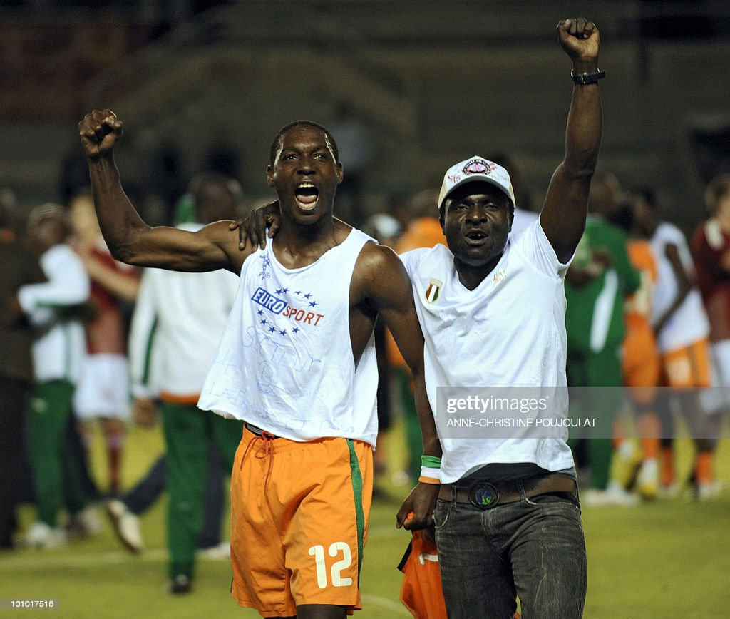 Ivory Coast player Giovanni Sio (L) after his team won the Under 21 international tournament final football match Ivory Coast vs. Denmark, on May 27, 2010 at the Mayol Stadium in Toulon, southern France. Ivory Coast won 3 to 2.