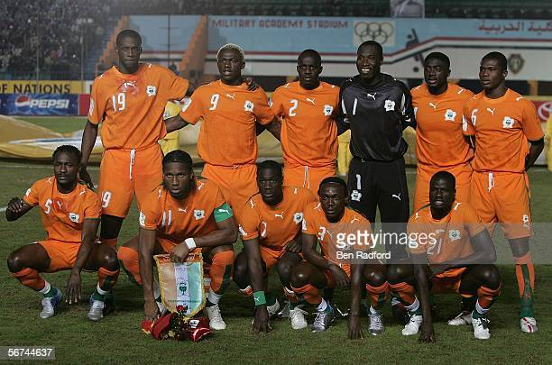 Ivory Coast pose for a team photo before The African Cup of Nations Quarter Final match between Cameroon v Ivory Coast at The Military Acadamy...