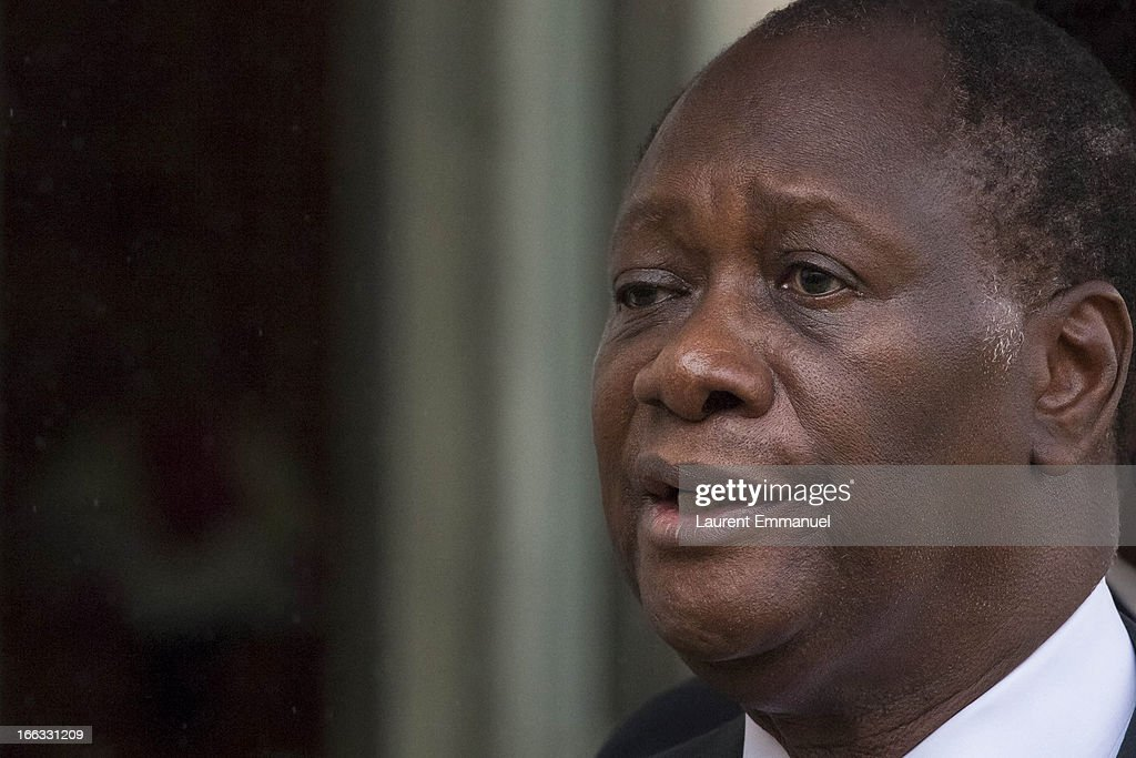 Ivory Coast President Alassane Ouattara addresses reporters following his meeting with French President Francois Hollande at the Elysee Palace on April 11, 2013 in Paris, France.