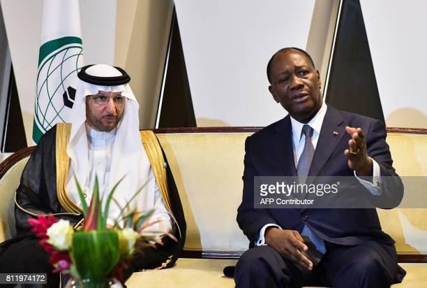 Ivory Coast President, Alassane Ouattara and Secretary-General of the Organisation of Islamic Cooperation , Yousef bin Ahmad al-Othaimeen meet after...