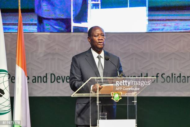 Ivory Coast President, Alassane Ouattara delivers a speech during the opening of the 44th meeting of the Ministers of Foreign Affairs of the...