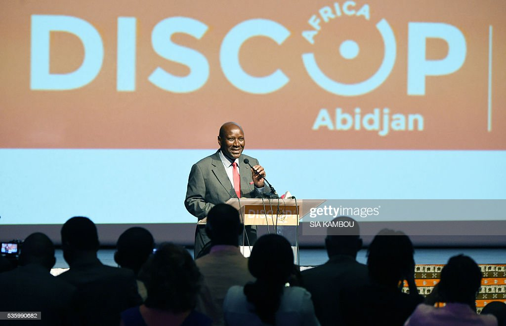 Ivory Coast Prime Minister Daniel Kablan Duncan (C) speaks on the opening day of the DISCOP Africa, a meeting focused on audiovisual content distribution and production on May 31, 2016 in Abidjan. KAMBOU