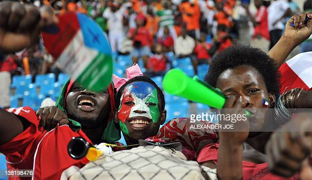 Ivory Coast supporters cheer before the Africa Cup of Nations Quarterfinal match between Ivory Coast and Equatorial Guinea in Malabo on February 4 at...