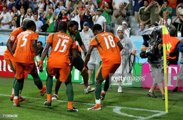 Ivory Coast team celebrate a goal with Didier Drogba during the FIFA World Cup Germany 2006 match between Ivory Coast and Serbia Montenegro played at...