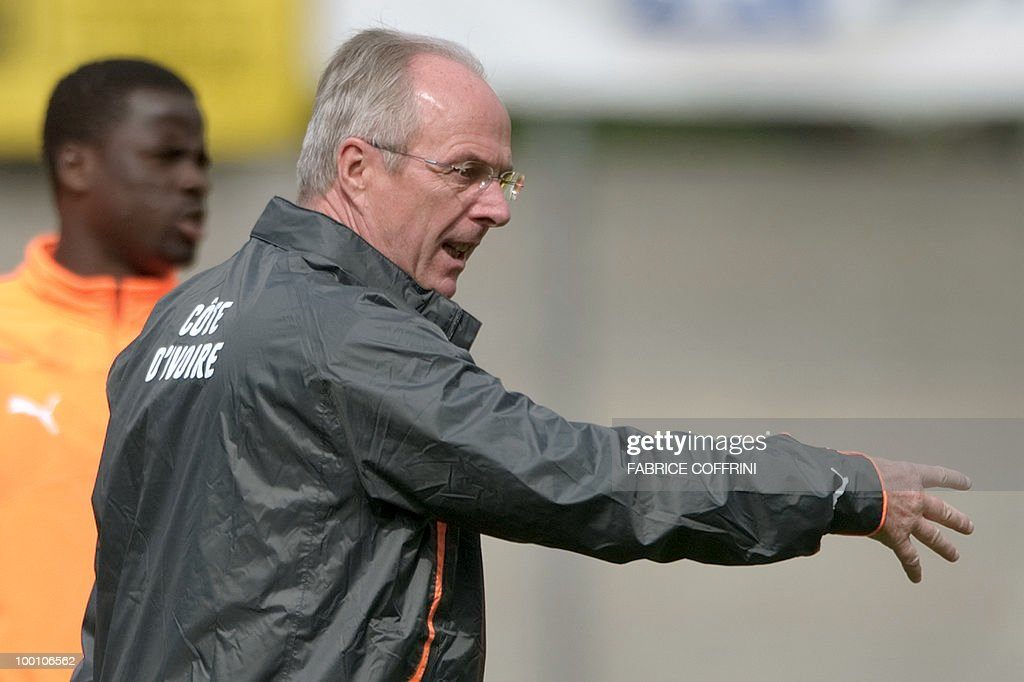 Ivory Coast team coach Sven Goran Eriksson of Sweden gestures in front of team player Emmanuel Eboue (back) during a practice session on May 20, 2010 in Montreux, Switzerland, ahead of the FIFA World Cup 2010 finals in South Africa. A high-profile casualty is inevitable in Group G at the World Cup with Brazil, Portugal and Ivory Coast fighting for two places while North Korea concentrate on damage limitation.