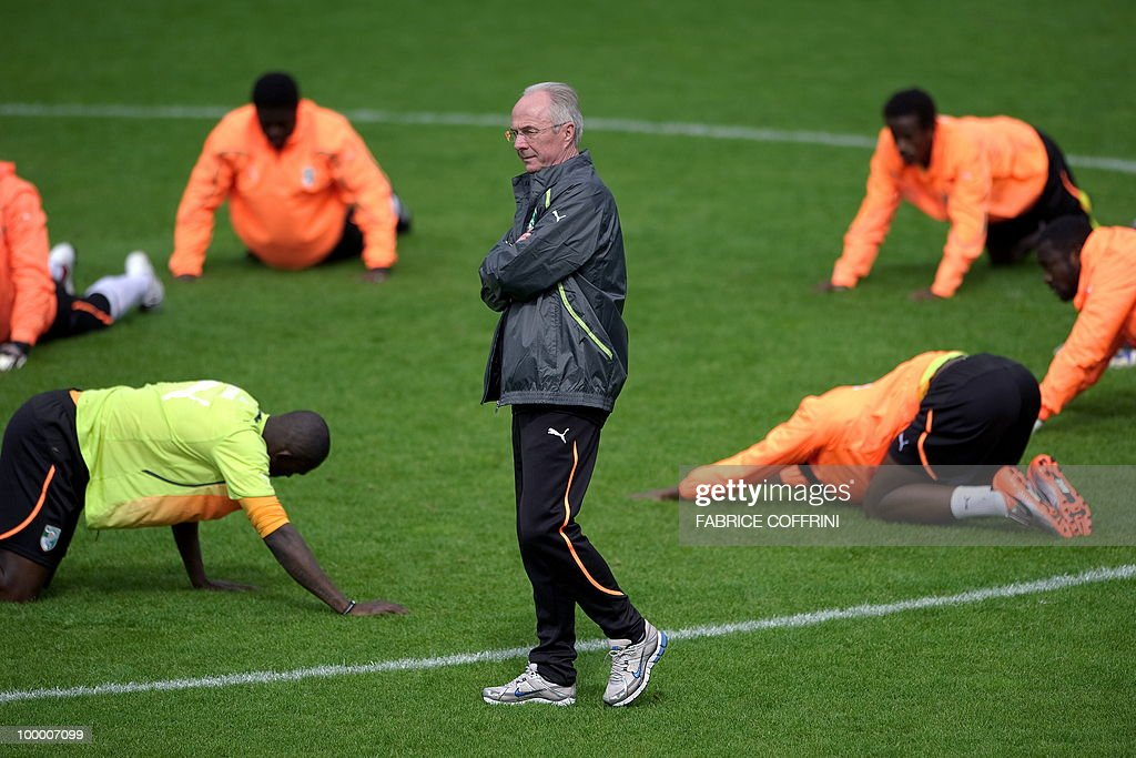 Ivory Coast team coach Sven Goran Eriksson (C) of Sweden stands among his players during a practice session on May 19, 2010 in Montreux, Switzerland, ahead of the FIFA World Cup 2010 finals in South Africa. A high-profile casualty is inevitable in Group G at the World Cup with Brazil, Portugal and Ivory Coast fighting for two places while North Korea concentrate on damage limitation.