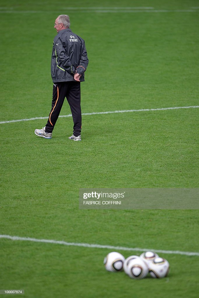 Ivory Coast team coach Sven Goran Eriksson of Sweden walks on the field during a practice session on May 20, 2010 in Montreux, Switzerland, ahead of the FIFA World Cup 2010 finals in South Africa. A high-profile casualty is inevitable in Group G at the World Cup with Brazil, Portugal and Ivory Coast fighting for two places while North Korea concentrate on damage limitation.
