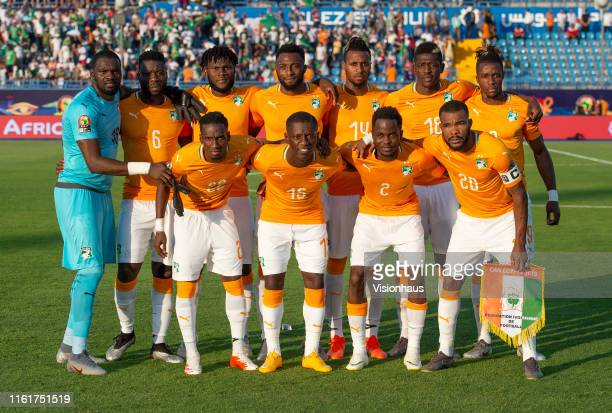 Ivory Coast team group the 2019 Africa Cup of Nations quarter-final match between Ivory Coast and Algeria at Suez Stadium on July 11, 2019 in Suez,...