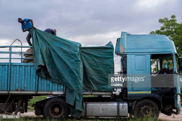 Ivory Coast Truck transporting cocoa bags