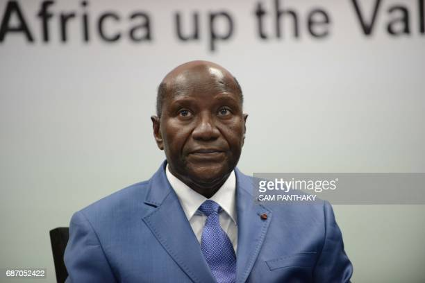 Ivory Coast Vice President Daniel Kablan Duncan looks on during an IndoAfrican cooeration session during the African Development Bank annual general...