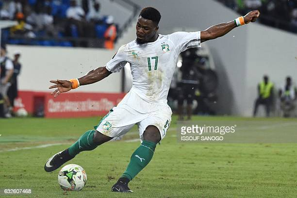 Ivory Coast's defender Serge Aurier kicks the ball during the 2017 Africa Cup of Nations group C football match between Morocco and Ivory Coast in...