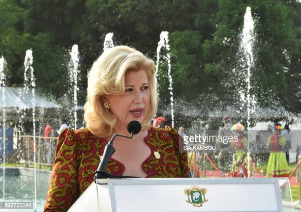 Ivory Coast's First Lady Dominique Ouattara delivers a speech at the presidential palace in Abidjan on December 23 during a Christmas event organised...