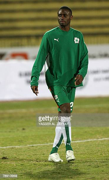 Ivory Coast's football player Boubacar Sanogo takes part in a training session before a friendly match against Kuwait's national team in Kuwait City...