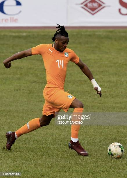 Ivory Coast's forward Jonathan Kodjia plays the ball during the 2019 African Cup of Nations Group H qualification football match between Ivory Coast...