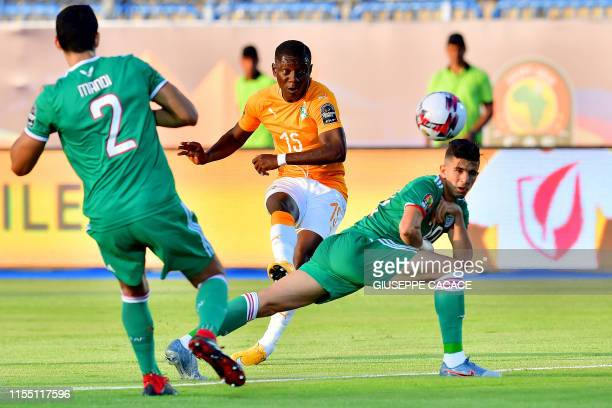 Ivory Coast's forward MaxAlain Gradel kicks the ball during the 2019 Africa Cup of Nations quarter final football match between Ivory Coast and...