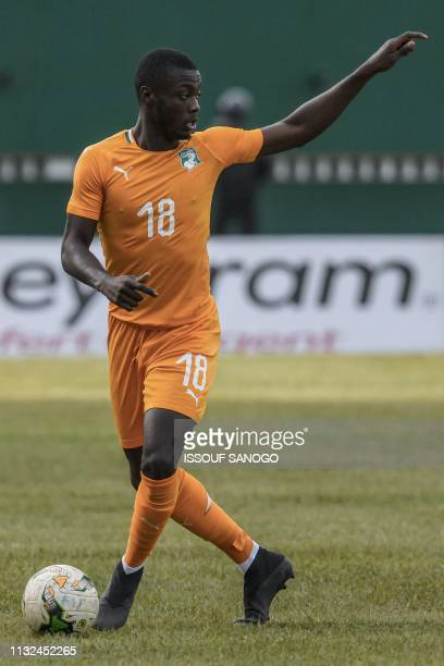 Ivory Coast's forward Nicolas Pepe controls the ball during the 2019 African Cup of Nations Group H qualification football match between Ivory Coast...