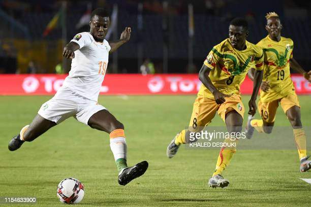 Ivory Coast's forward Nicolas Pepe kicks the ball during the 2019 Africa Cup of Nations Round of 16 football match between Ivory Coast and Mali at...