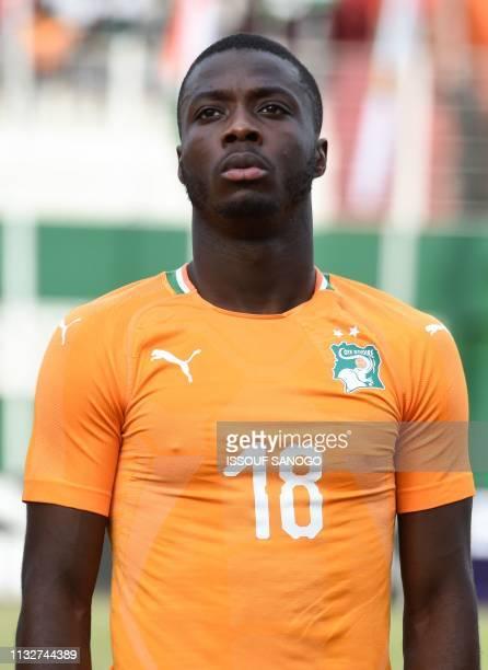 Ivory Coast's forward Nicolas Pepe poses at the Felix HouphouetBoigny stadium in Abidjan on March 23 2019