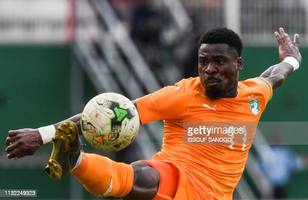 Ivory Coast's forward Serge Aurier controls the ball during the 2019 African Cup of Nations Group H qualification football match between Ivory Coast...