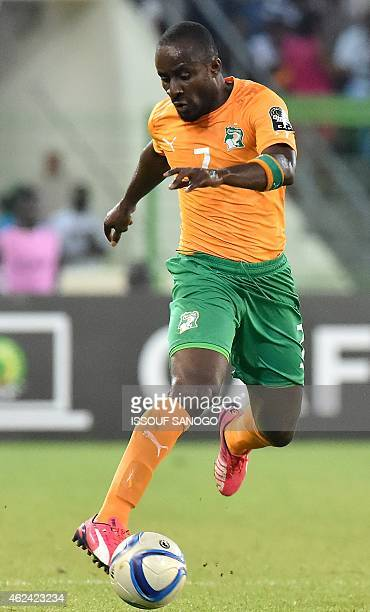Ivory Coast's forward Seydou Doumbia controls the ball during the 2015 African Cup of Nations group D football match between Cameroon and Ivory Coast...