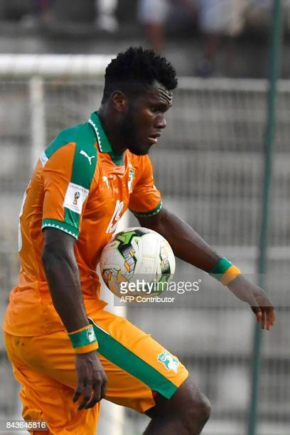Ivory Coast's Franck Kessie controls the ball during the FIFA 2018 World Cup qualification football match between Ivory Coast and Gabon at The Stade...