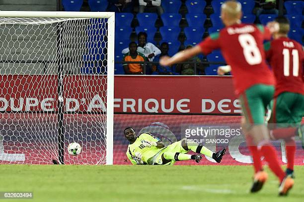 Ivory Coast's goalkeeper Sylvain Gbohouo concedes a goal during the 2017 Africa Cup of Nations group C football match between Morocco and Ivory Coast...