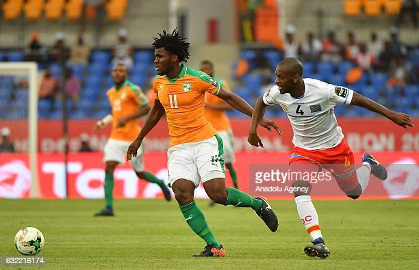Ivory Coast's Kessie vies for the ball against Republic of the Congo's Ikoko during the African Cup of Nations Group C soccer match between Ivory...