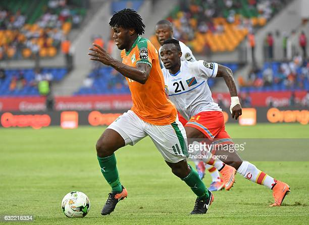 Ivory Coast's Kessie vies for the ball against Republic of the Congo's Mubele during the African Cup of Nations Group C soccer match between Ivory...