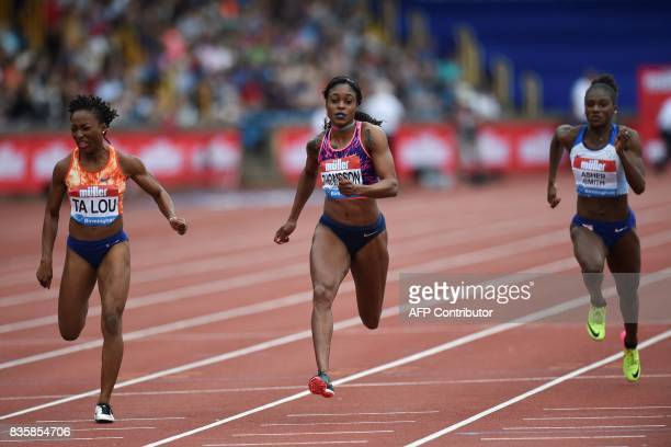 Ivory Coast's Marie-Josée Ta Lou, Jamaica's Elaine Thompson and Britain's Dina Asher-Smith compete in the final of the women's 100m during the 2017...
