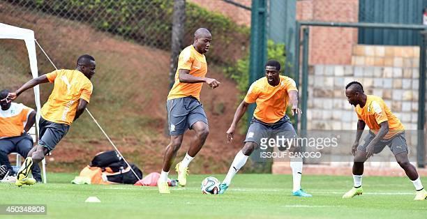 Ivory Coast's midfielder Cheick Tiote Ivory Coast's defender Souleymane Bamba Ivory Coast's defender Kolo Toure and Ivory Coast's defender Arthur...